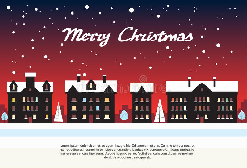 Feliz Natal do vermelho da noite do ano novo da vila da casa ilustração stock
