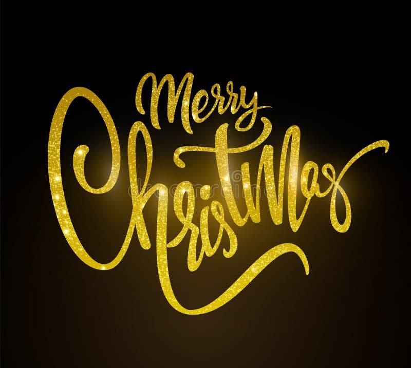 Feliz Natal dourado do texto que rotula para o convite e o cartão, as cópias e os cartazes Inscrição tirada mão ilustração royalty free