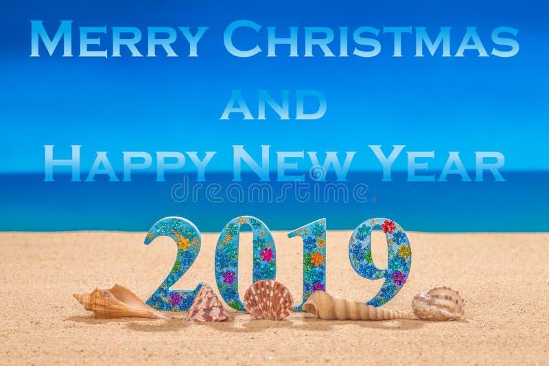 Feliz Natal e ano novo feliz 2019 imagens de stock
