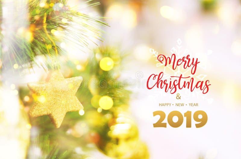 Feliz Natal e ano novo feliz, 2019 imagens de stock