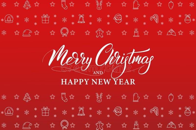 Feliz Natal e ano novo feliz Bandeira do feriado de inverno com as decorações lineares dos ícones e a caligrafia do Xmas ilustração stock