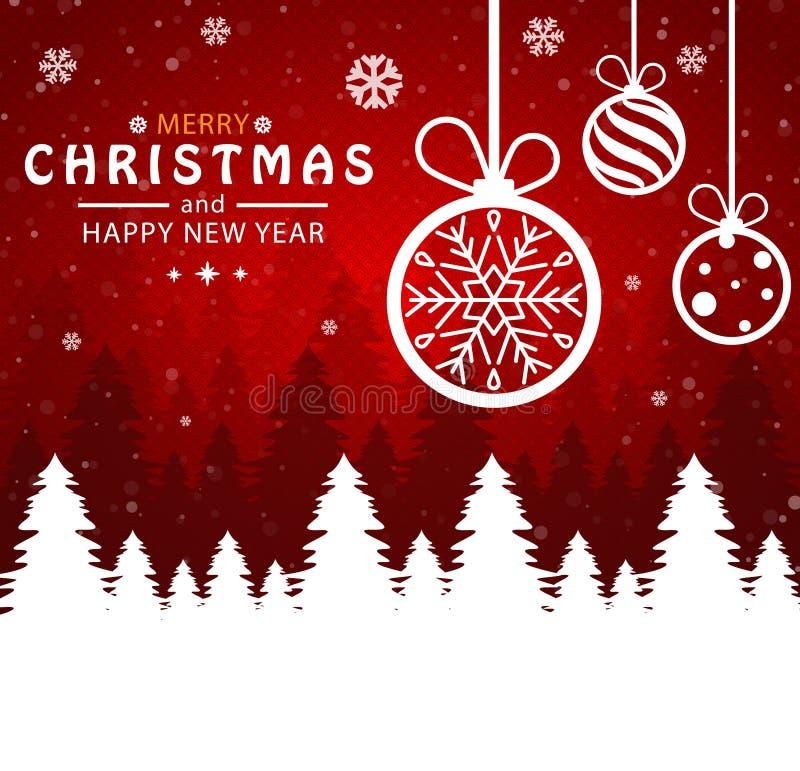 Feliz Natal e ano novo feliz Bola do Natal no fundo vermelho ilustração do vetor