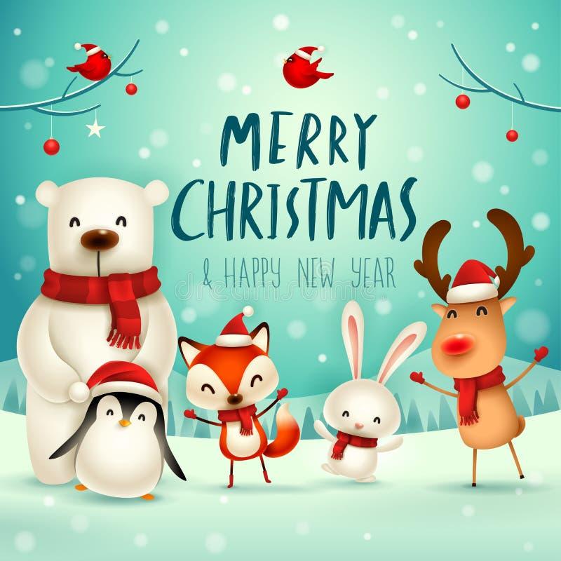 Feliz Natal e ano novo feliz! Caráter bonito dos animais do Natal Companheiros do Natal feliz ilustração do vetor