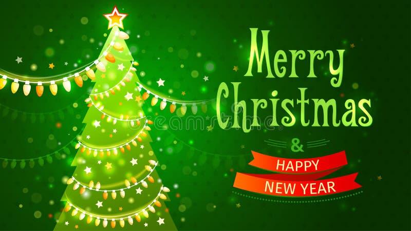 Feliz Natal e ano novo feliz Cartão festivo da ilustração do vetor Árvore verde com a festão de ampolas ilustração stock