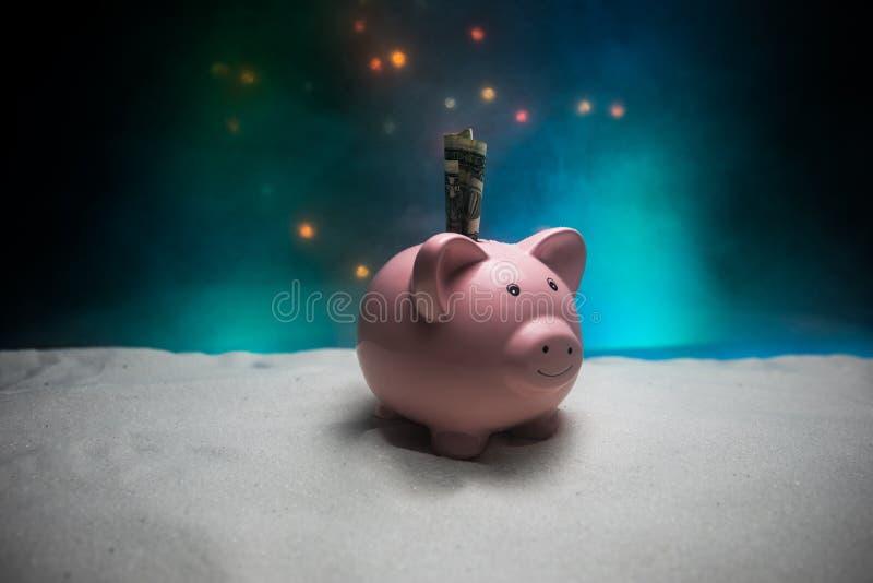 Feliz Natal e ano novo feliz Ano novo chinês do porco, símbolo 2019 para o cartão de cumprimentos Foco seletivo macio E fotografia de stock