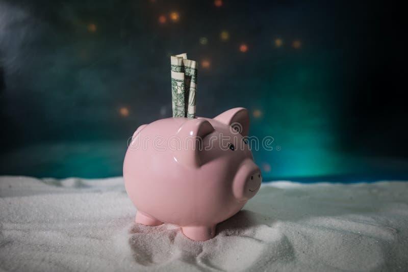 Feliz Natal e ano novo feliz Ano novo chinês do porco, símbolo 2019 para o cartão de cumprimentos Foco seletivo macio E fotos de stock