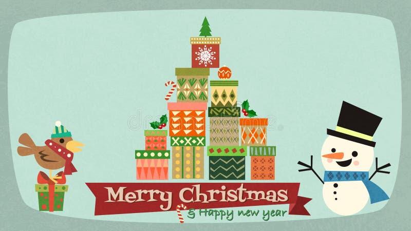 Feliz Natal e ano novo feliz com characte dos desenhos animados do boneco de neve ilustração do vetor