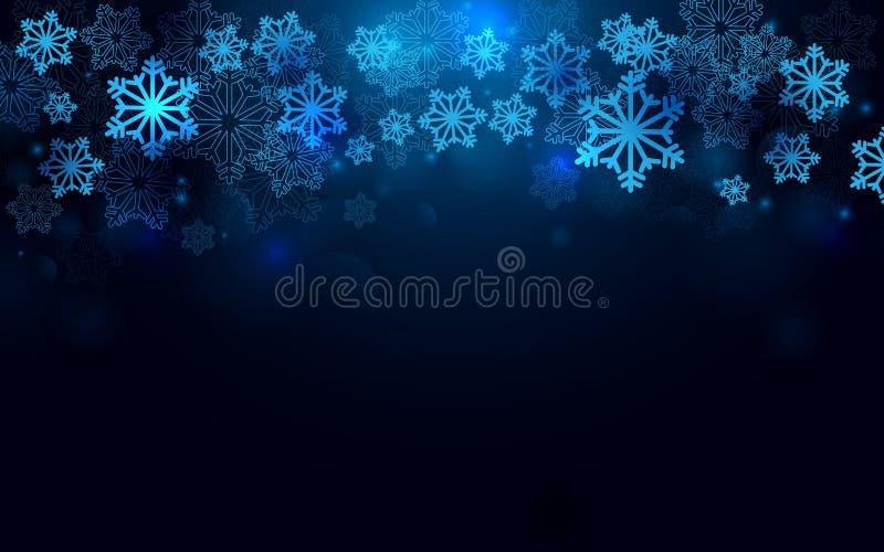 Feliz Natal e ano novo feliz com fundo dos flocos de neve ilustração do vetor
