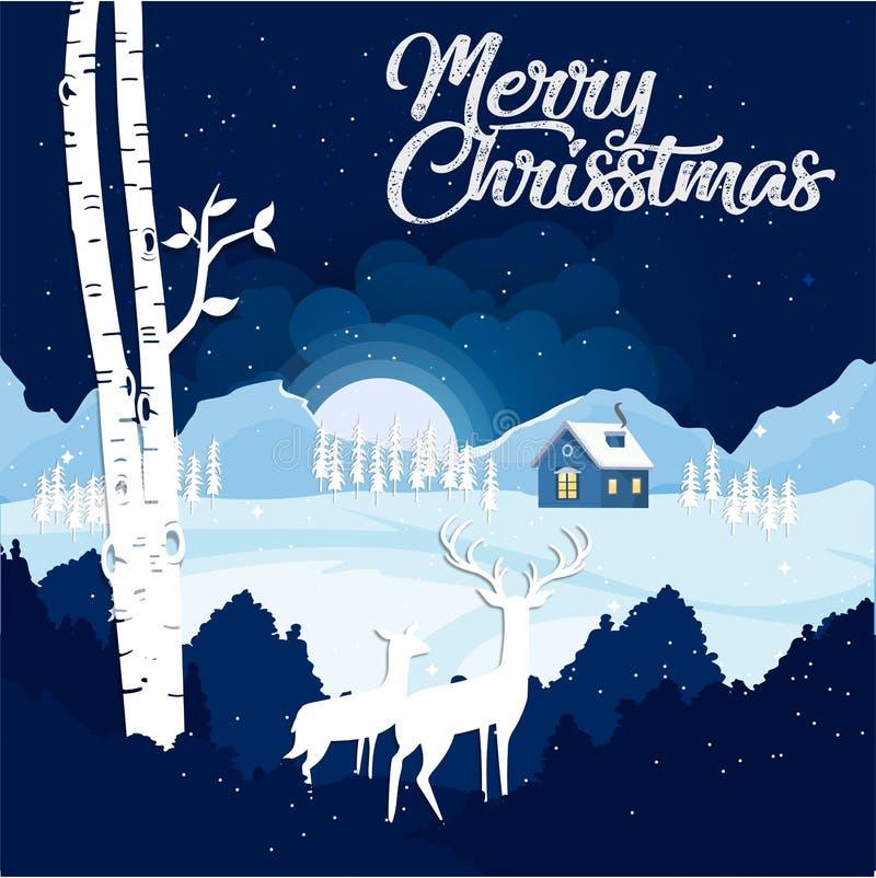 Feliz Natal e ano novo feliz com a rena dois que olha para baixo a uma vila com luz e que neva na noite Advertis do Natal ilustração do vetor
