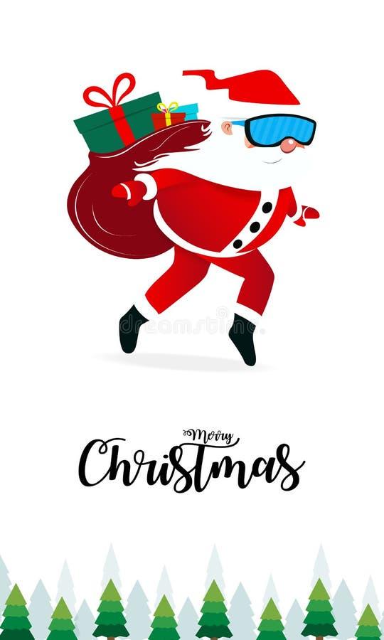 Feliz Natal e ano novo feliz com Santa Claus, cena do Natal Corte do papel da ilustra??o do vetor ilustração royalty free