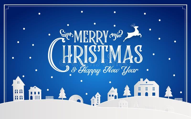 Feliz Natal e ano novo feliz 2019 de cidade nataa nevado com mensagem da fonte da tipografia Arte azul do papel da cor e ofício d ilustração do vetor