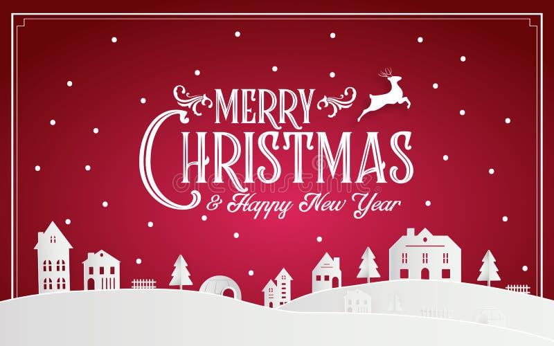 Feliz Natal e ano novo feliz 2019 de cidade nataa nevado com mensagem da fonte da tipografia Arte de papel cor-de-rosa vermelha e ilustração do vetor