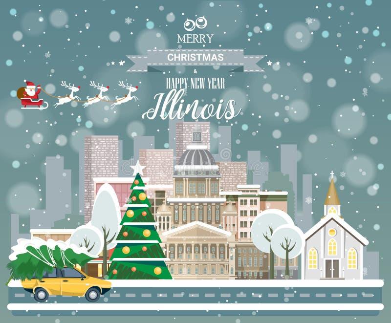 Feliz Natal e ano novo feliz em Illinois Cumprimentando o cartão festivo dos EUA Cidade nevando do inverno com as casas acolhedor ilustração royalty free