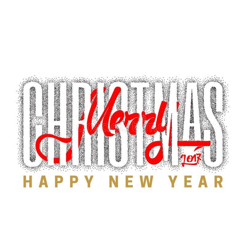 Feliz Natal e ano novo feliz 2017, Dotwork tirado mão Caligrafia feito a mão do vetor para seu projeto ilustração royalty free