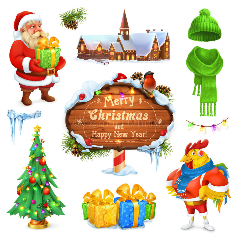 Feliz Natal e ano novo feliz Papai Noel _2 Árvore de Natal Sinal de madeira Caixa de presente Chapéu feito malha inverno Grupo do ilustração stock