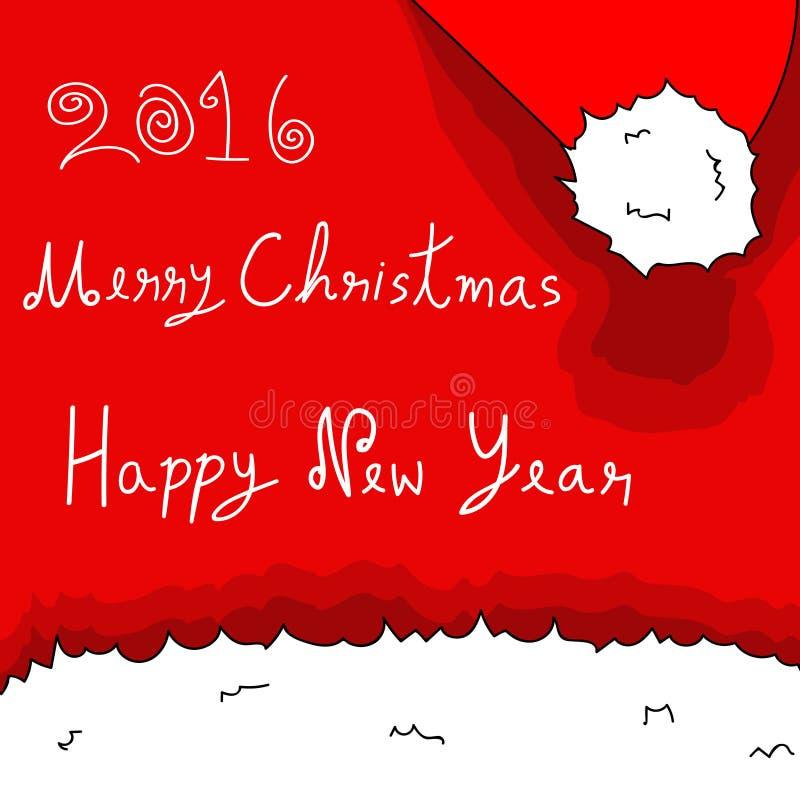 Feliz Natal e ano novo feliz Santa Hat 2016 ilustração stock
