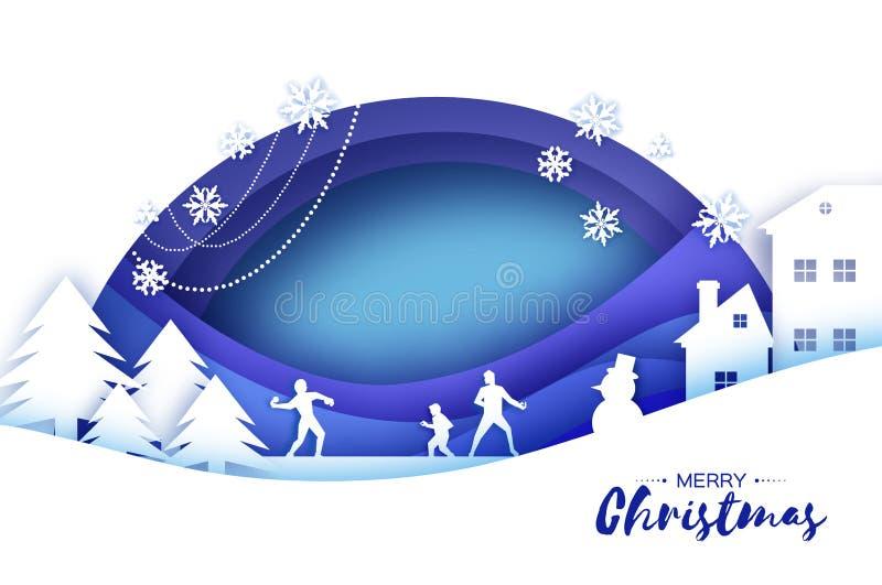 Feliz Natal e ano novo feliz Jogo da bola de neve do inverno do origâmi Paisagem Vila com céu azul Entretenimento dentro ilustração royalty free