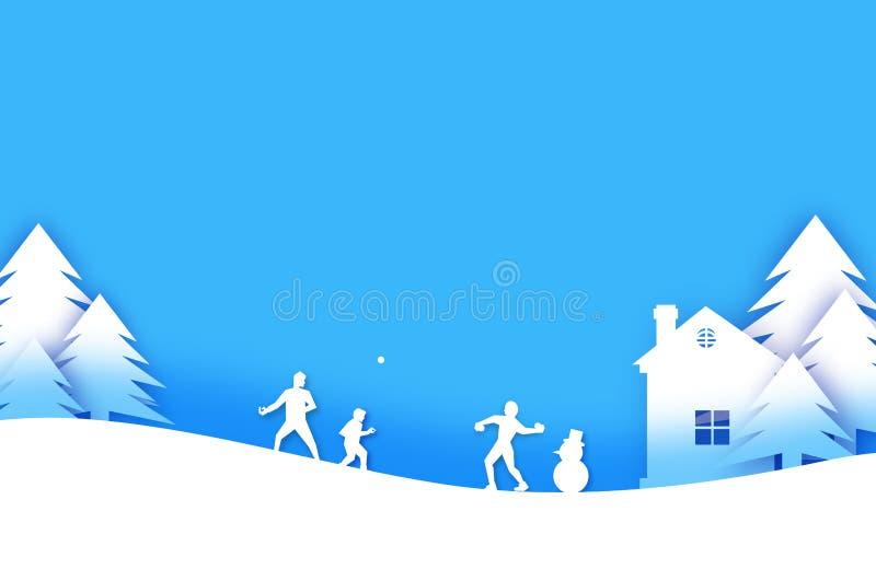 Feliz Natal e ano novo feliz Jogo da bola de neve do inverno do origâmi Paisagem Vila com céu azul Entretenimento dentro ilustração stock