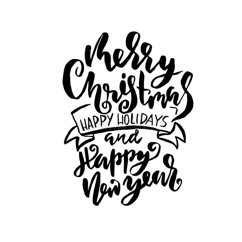 Feliz Natal e ano novo feliz O feriado moderno seca a rotulação da tinta da escova para o cartão Ilustração do vetor ilustração royalty free
