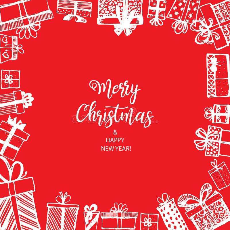 Feliz Natal e ano novo feliz Quadro feito dos presentes ilustração do vetor