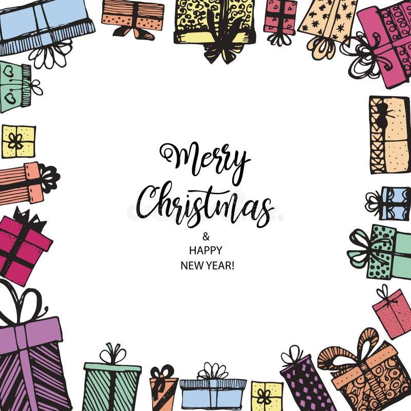 Feliz Natal e ano novo feliz Quadro feito dos presentes ilustração royalty free