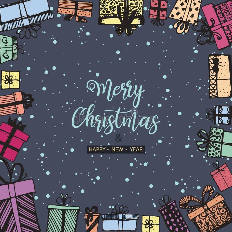 Feliz Natal e ano novo feliz Quadro feito dos presentes Mão desenhada ilustração royalty free