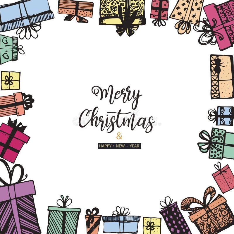 Feliz Natal e ano novo feliz Quadro feito dos presentes Mão desenhada ilustração do vetor