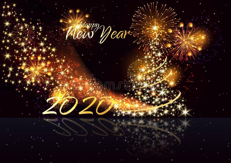 Feliz Natal e ano novo feliz Vetor do ano novo feliz 2020 - para casar o fundo do Natal com ouro 2020 - imagem de stock