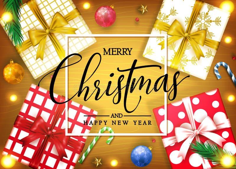 Feliz Natal e bandeira decorativa da opinião superior de ano novo feliz com caixas de presente realísticas ilustração royalty free