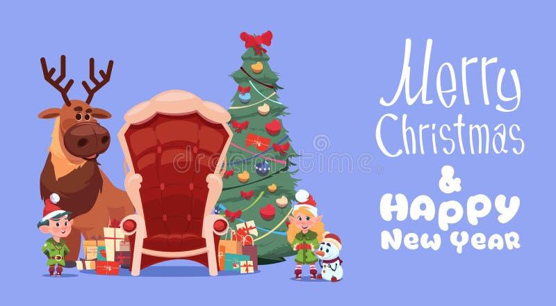 Feliz Natal e bandeira do feriado de inverno do conceito do cartão do ano novo feliz ilustração stock