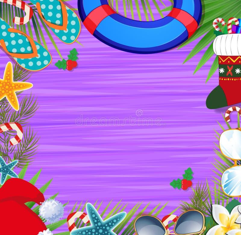 Feliz Natal e beira do ano novo feliz em um desi morno do clima ilustração royalty free