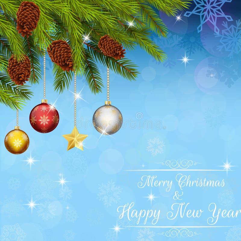 Feliz Natal e bolas do ano novo feliz e fundo da árvore ilustração stock