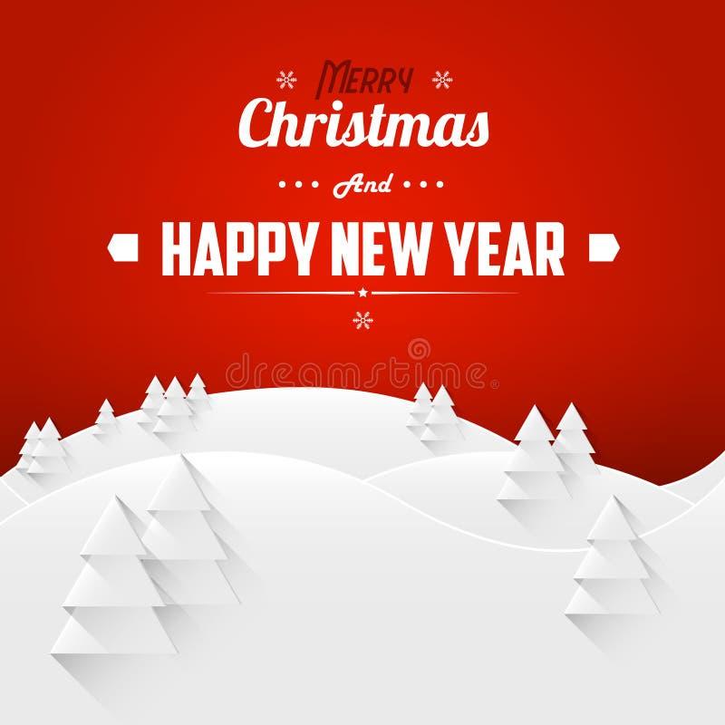Feliz Natal e cartão da paisagem do ano novo feliz Pia batismal retro