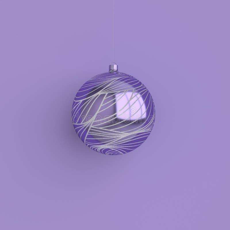 Feliz Natal e cartão de ilustração de Ano Novo 3d com bola de Natal roxo e prata Decoração de inverno, design mínimo ilustração stock