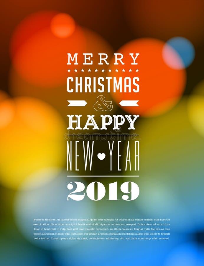 Feliz Natal e cartão do ano novo feliz 2019 ilustração do vetor