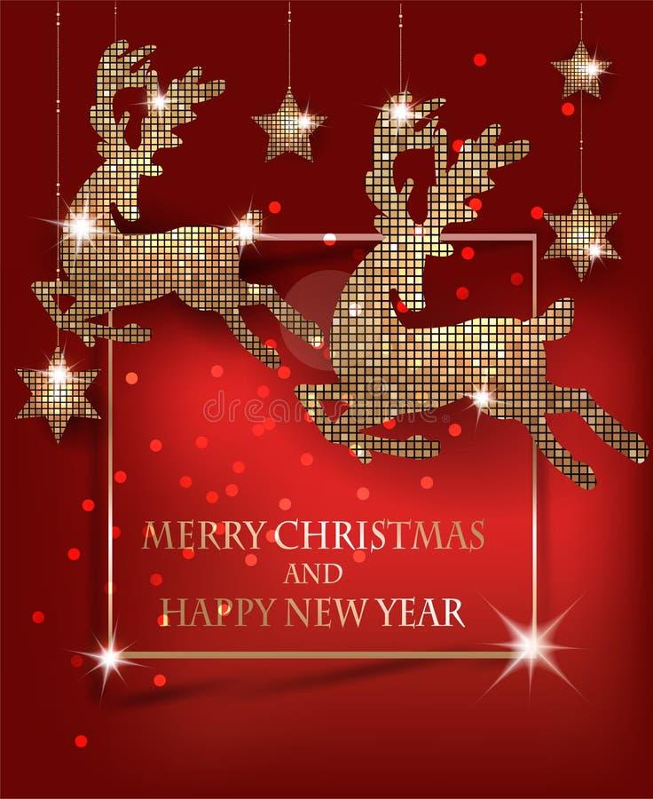 Feliz Natal e cartão do ano novo feliz com ouro com os cervos e as estrelas de suspensão do teste padrão ilustração royalty free