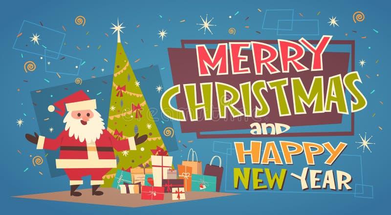 Feliz Natal e cartão do ano novo feliz com Santa Claus Near Green Holiday Tree e os presentes ilustração royalty free