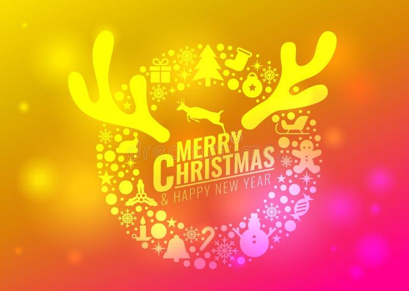 Feliz Natal e cartão do ano novo feliz - circunde o sinal do ícone do Natal e os chifres da rena e a rena saltam na luz cor-de-ro ilustração do vetor
