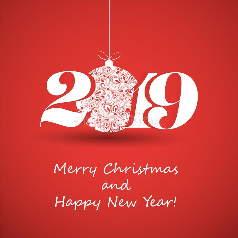 Feliz Natal e cartão do ano novo feliz, molde criativo do projeto - 2019 ilustração stock