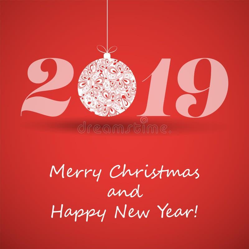 Feliz Natal e cartão do ano novo feliz, molde criativo do projeto - 2019 ilustração royalty free