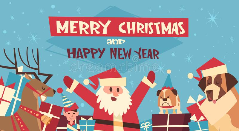 Feliz Natal e cartaz do ano novo feliz com chapéus de Santa And Dogs Wearing Red ilustração royalty free