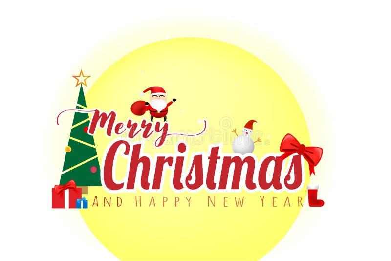 Feliz Natal e conceito do ano novo feliz no fundo branco da cor ilustração do vetor