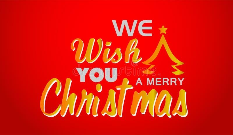 Feliz Natal e cumprimento do projeto do texto no ícone colorido ouro no fundo vermelho abstrato ilustração do vetor