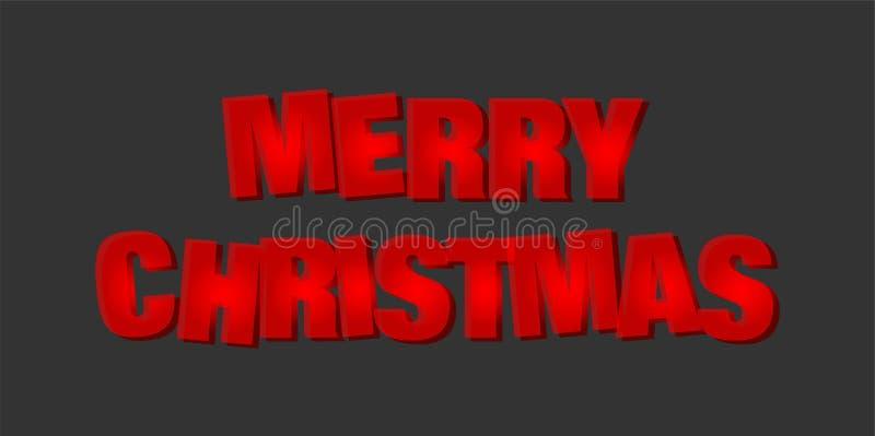 Feliz Natal e cumprimento do projeto do texto no ícone colorido vermelho no fundo preto abstrato ilustração royalty free