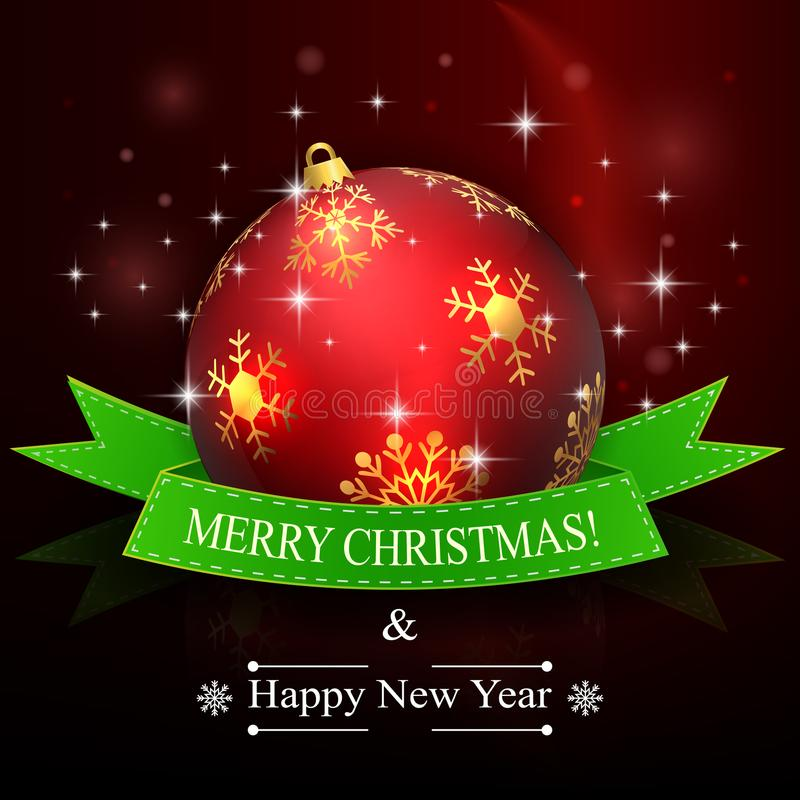 Feliz Natal e fundo do ano novo feliz com bola e a fita vermelhas ilustração royalty free
