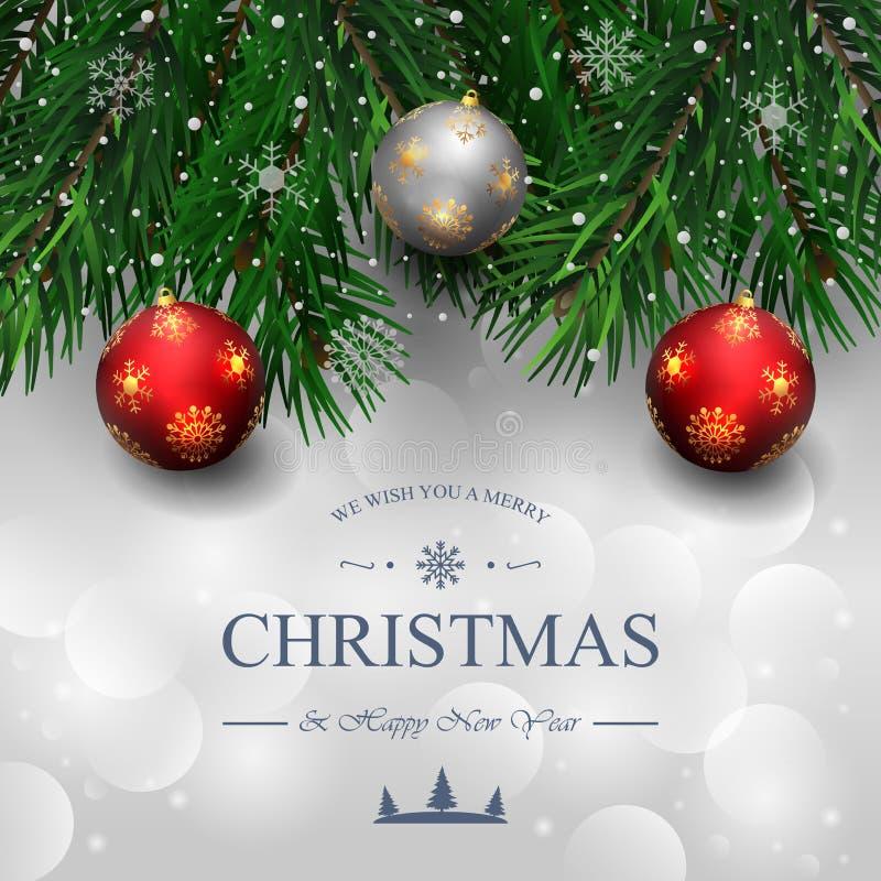 Feliz Natal e fundo do ano novo feliz com ramo de árvore e bola do Natal ilustração do vetor