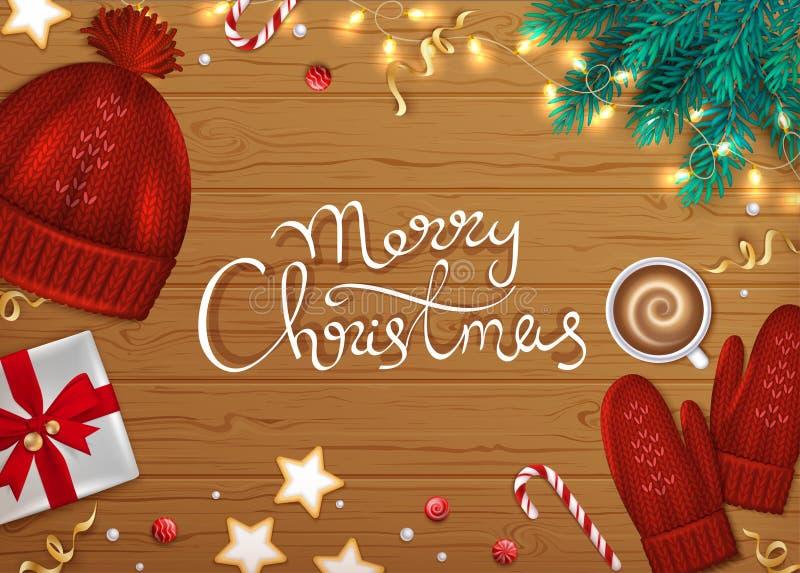 Feliz Natal e fundo do cumprimento do ano novo feliz Rotulação tirada mão O abeto dos elementos do inverno ramifica, chapéu feito ilustração stock