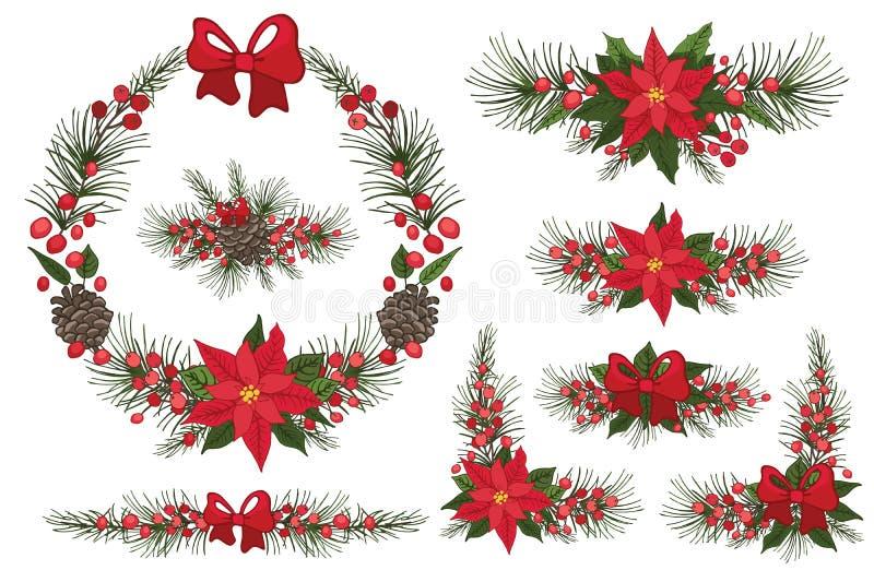 Feliz Natal e grinalda do ano novo, grupo ilustração stock