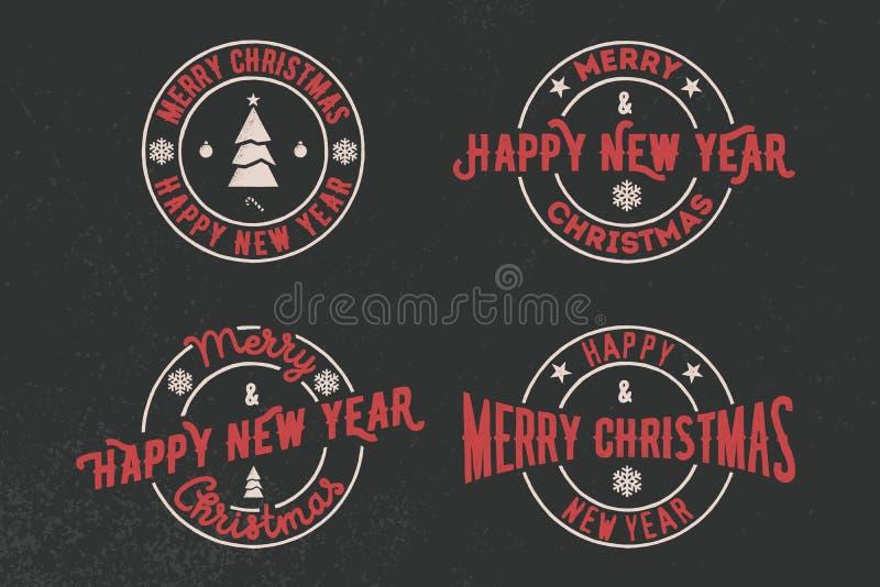 Feliz Natal e grupo da tipografia do ano novo feliz Logotipo do vetor, emblemas, projeto do texto Útil para bandeiras, cartões, p ilustração royalty free