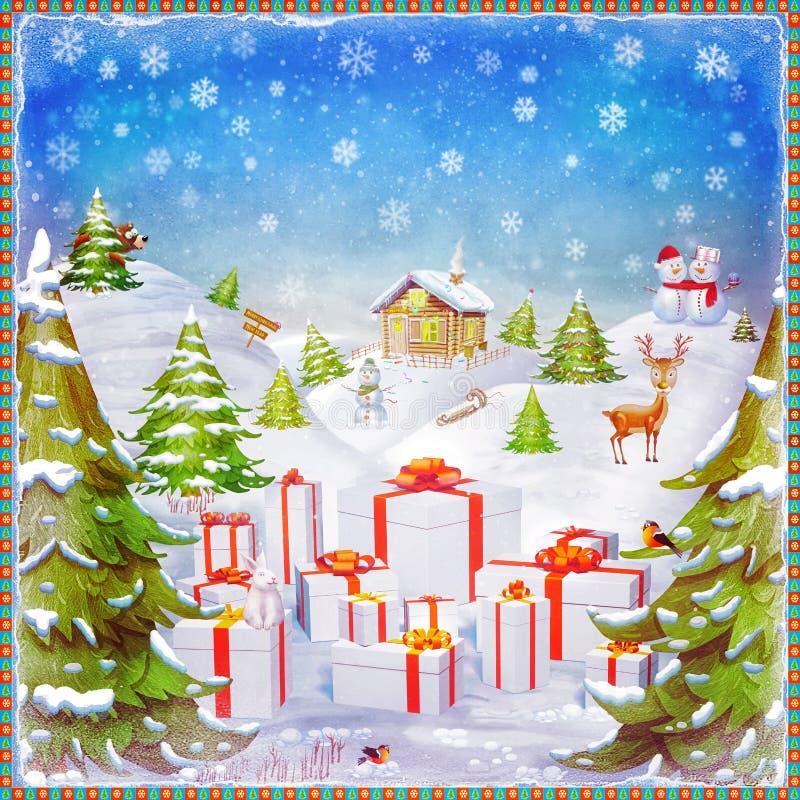 Feliz Natal e ilustração do fundo do ano novo feliz ilustração do vetor